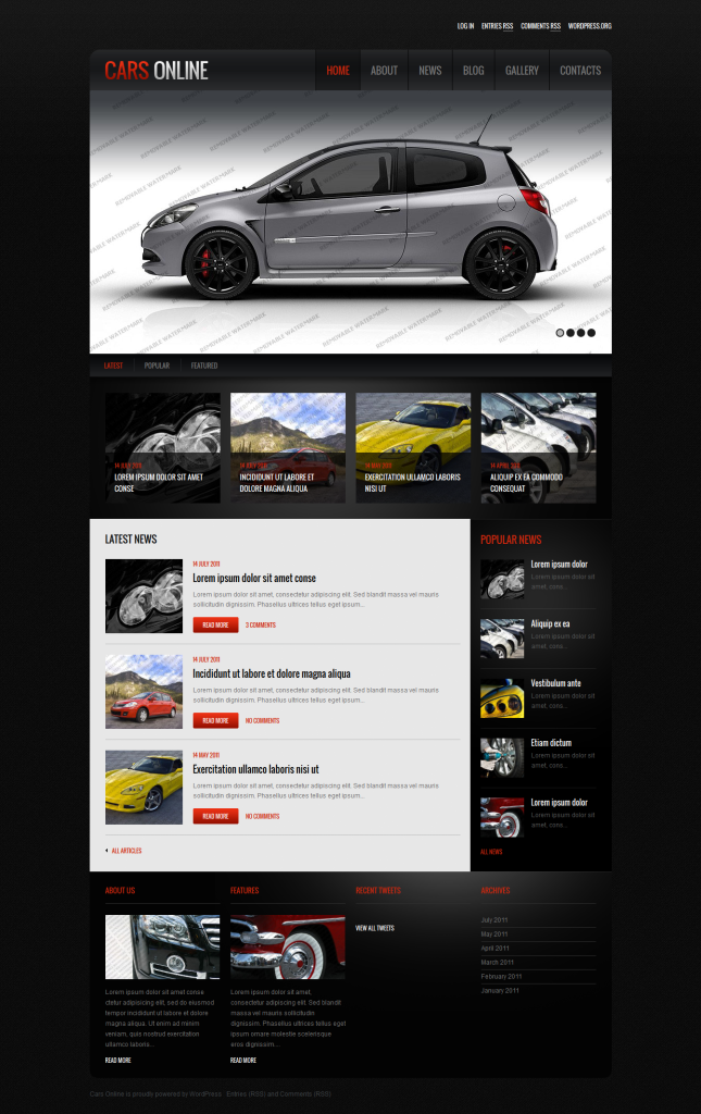 Cars Online Free Responsive WordPress Theme
